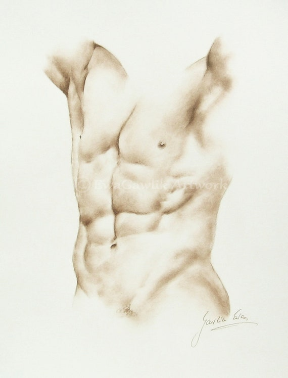Hand drawing of naked man 3