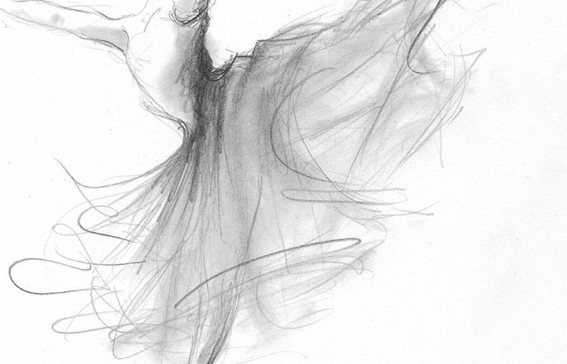 Disegni Di Ballerine Da Disegnare : Ballerina stampa ballerina schizzo disegno di ballerina etsy