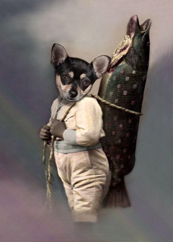 Huey Chihuahua Art Print Whimsical Dog Art Vintage Dog Etsy