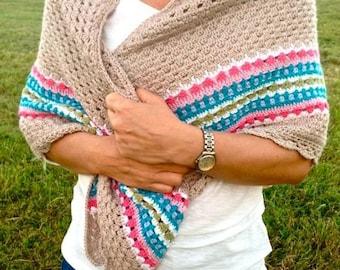 Crochet pattern Nordic Shawl, Crochet shawl pattern, Scandinavian design, UK, US and Swedish crochet terms