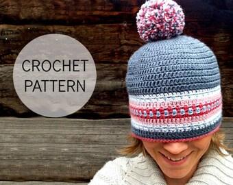 CROCHET pattern - Nordic Hat - Pdf crochet pattern - US, UK and Swedish terms (size child to adult)