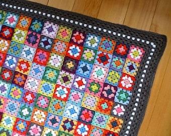 Crochet pattern - Gypsy granny square crochet blanket - US & UK version, granny square crochet afghan