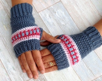 Crochet Pattern - Nordic Wrist Warmers - Crochet Fingerless Gloves Pattern - US and UK terms and Swedish