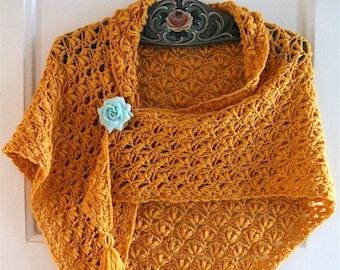 Olivia's Shawl - crochet shawl pattern UK and US terms