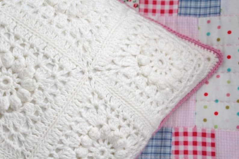 PDF Crochet Pattern  Popcorn & Lace Square Pillow  US and UK image 0