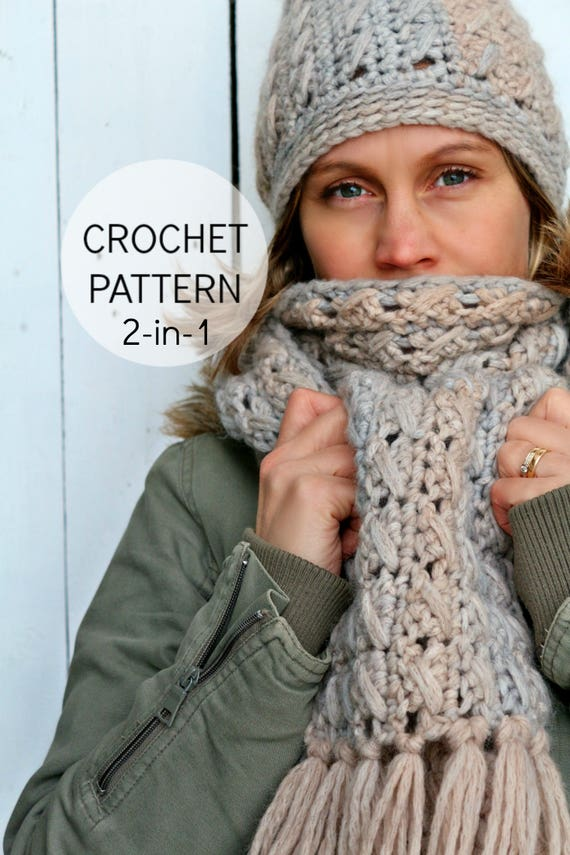 Crochet Hat And Scarf Pattern Wilmas Winter Set Us Etsy