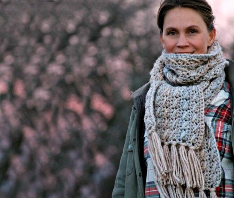 Crochet Scarf Pattern  Wilma's Cable Scarf  US UK and image 0