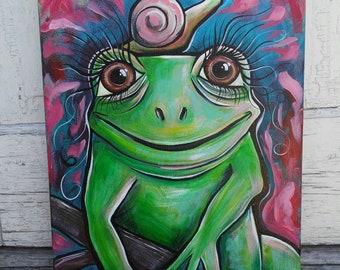 RESERVED Frog Original Art Painting