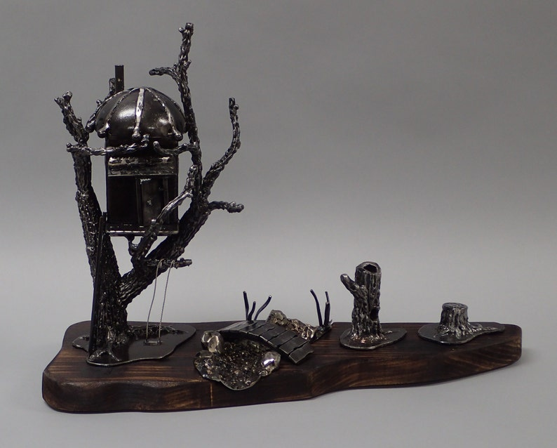 The Last Tree House  Steampunk Steel Building Sculpture image 0