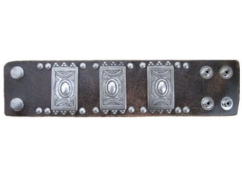 Handmade Vintage Brown Rectangle Ornament Design Leather Bracelet Cuff Wrist Band