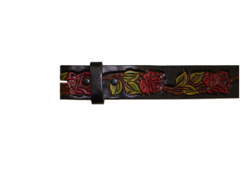 Black Hand Painted Red Roses 1.5 Wide Leather Belt  image 0