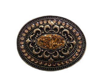 """Oval Ornament Stones and Crystals Belt Buckle - Available in Various Stones and Crystals - Fits All 1.5"""" Wide Belts"""