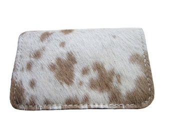 Handmade Twofold Business Leather Wallet - Available in White/Brown Cowhide