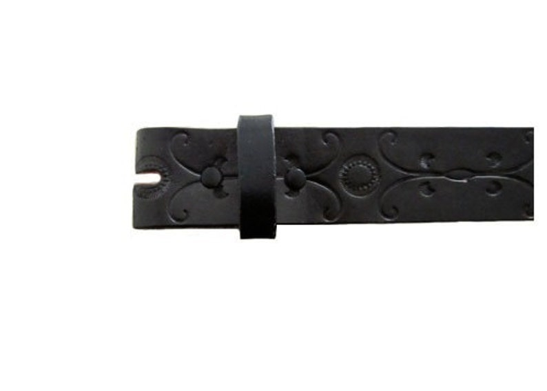 Black Floral Vector 1.5 Wide Leather Belt  Available up image 0