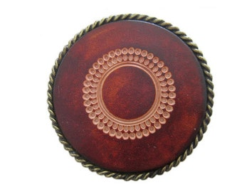 """Circle Rope Bordered Leather Design Belt Buckle - Available in Silver and Gold - Fits All 1.5"""" Wide Belts"""