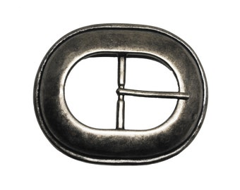 """Oval Single Prong Belt Buckle - Available in Antique Silver - Fits All 1.5"""" Wide Belts"""