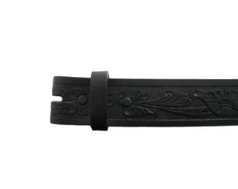 """Black Floral Embossed 1.5"""" Wide Leather Belt - Available up to Size 40"""