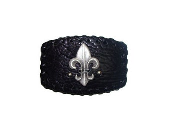 """Black Leather Ornament with Crystals Belt Buckle - Available with Cross and Fleur de lis - Fits All 1.5"""" Wide Belts"""