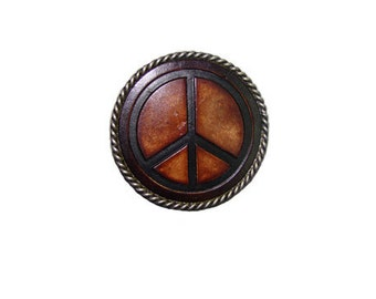 """Circle Rope Bordered Peace Leather Belt Buckle - Available in Silver and Gold - Fits All 1.5"""" Wide Belts"""