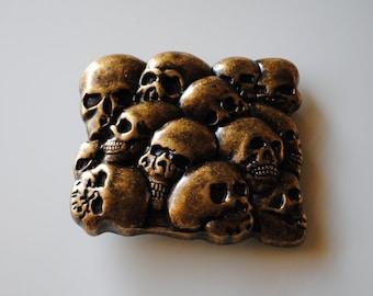 """Gold Skulls Belt Buckle - Fits All 1.5"""" Wide Belts"""