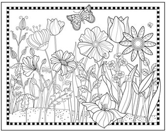 Magical Garden To Color Downloadable Print Fun Design For All Ages