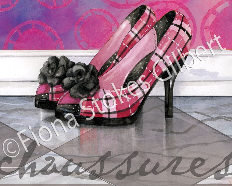 d400fda77fd1 Fashionista French heels Art print Pink and Gray Plaid Heels