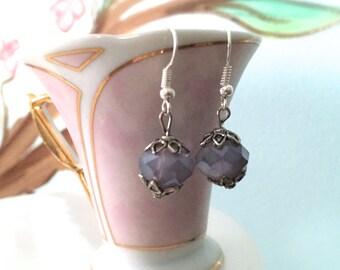 Lavender Faceted Glass Beaded Dangle Earrings. Flower Petal Silver Bead Caps. Small Drop Dangle Earrings. Under 10 Gifts. Purple.
