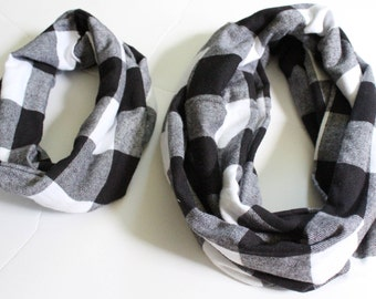 Buffalo Plaid Scarf, Infinity Scarf, Mommy & Me Scarves, Toddler Scarf, Child Scarf, Black and White Checks, Fall Scarf, Christmas Gift