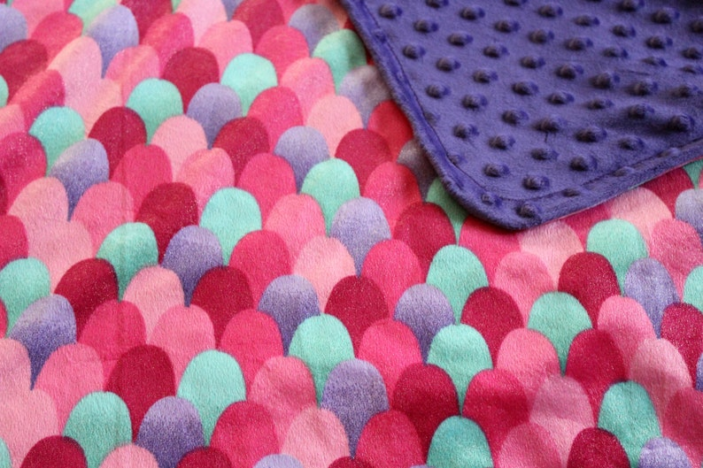 Luxury Soft Pink Mermaid Blanket-Baby Girl Blanket-Soft Minky Blanket-Toddler Blanket-Mermaid Baby Shower Gift-Mermaid Scales-Christmas Gift