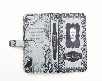 Book phone /iPhone flip Wallet case- Edgar Allan Poe for  iPhone X 8 7 6 5, 6 7 & 8 plus, Samsung Galaxy S9 S8 S7 S6 S5 Note 7 8 9 LG, Sony