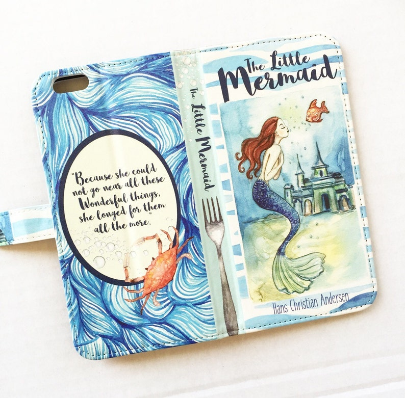 detailed look e9d42 be8de Book phone /iPhone flip Wallet case Little Mermaid for iPhone X, 8, 7, 6, 6  7 & 8 plus, Samsung Galaxy S9 S8 S7 S6 S5 Note 4 5 7 8 9, LG