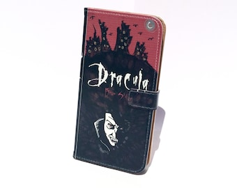 Book phone /iPhone flip Wallet case- Dracula for  iPhone X, 8, 7, 6, 6 7 & 8 plus, 5 5s 5c Samsung Galaxy S9 S8 S7 S6 Note 5 7 8 9 LG, Sony