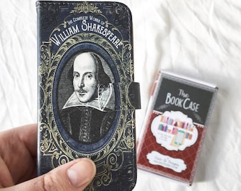 Book phone /iPhone flip Wallet case- William Shakespeare for  iPhone X, 8, 7, 6, 6 7 & 8 plus, 5,  Samsung Galaxy S9 S8 S7 S6 Note 5 7 8 9