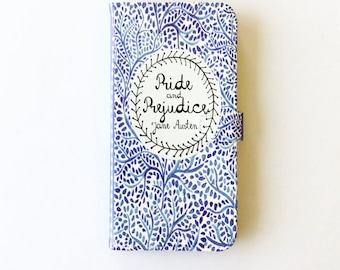 Jane Austen Gift, Pride and Prejudice Phone Case, Jane Austen iPhone Case, Book Phone Case, Book iPhone Case, iPhone X, 8, Wallet Phone Case