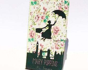 Book phone /iPhone flip Wallet case- Mary Poppins for  iPhone X, 8, 7, 6, 5, 6 7 & 8 plus, Samsung Galaxy S9 S8 S7 S6, S5 Note 4 5 7 8 9 LG