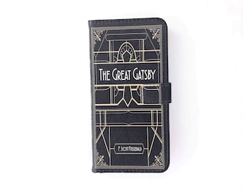 Book phone /iPhone flip Wallet case-The Great Gatsby for iPhone X 8 7 6, 6 7 & 8 plus, 5 5s 5c, Samsung Galaxy S10  S9 S8 S7 S6 Note 5 7 8 9