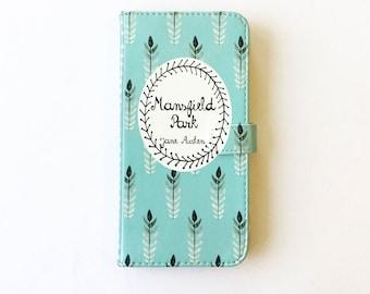 Jane Austen Gift, Mansfield Park Phone Case, Jane Austen iPhone Case, Book Phone Case, Book iPhone Case, iPhone X 8  Samsung Wallet Phone
