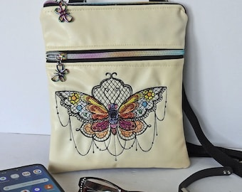 Butterfly Sling Bag, Embroidered Steampunk Butterfly,  Steampunk Gear, Out & about cross shoulder bag
