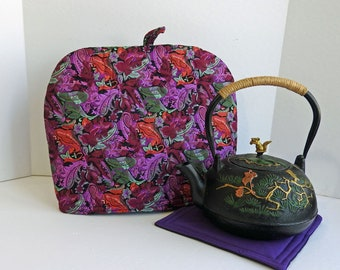 Purple Garden Tea Cozy, Quilted Tea Cozy,