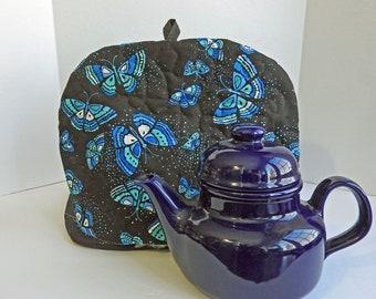 Blue Butterflies in Flight Tea Cozy, Quilted Tea Cozy,