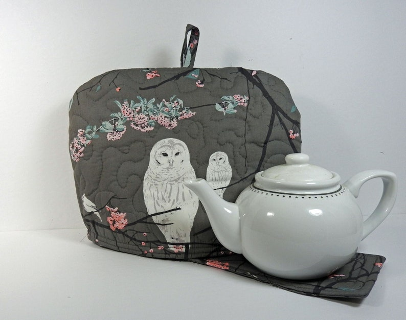 White Owls  Spring Blossoms Tea Cozy Quilted Tea Cozy image 0