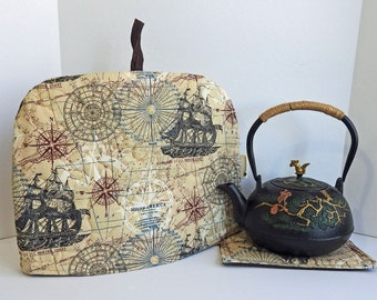 New World Ship Tea Cozy, Quilted Tea Cozy,