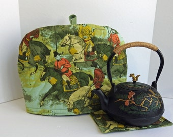 Antient Chinese Fighters Tea Cozy, Quilted Tea Cozy,