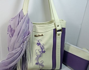 Purple n White Tote Bag with Matching Pouch