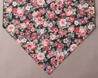 "Pink Floral Table Runner, Small 36"" Table Runner, Country Table Runner"
