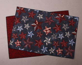 Americana Star Placemats, Patriotic Placemats, Reversible Placemats, Red White and Blue Placemats