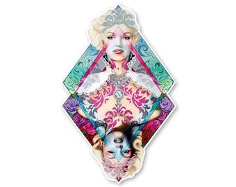 Marilyn Monroe Sticker- Marilyn Decal- Queen of Diamonds-  Marilyn Monroe Art - Art by Ashley Bell