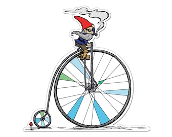 Gnome Sticker- Gnome Penny Farthing Decal- Smoking Gnome -  Penny - Bike - Car Sticker - Water bottle Sticker - Decal