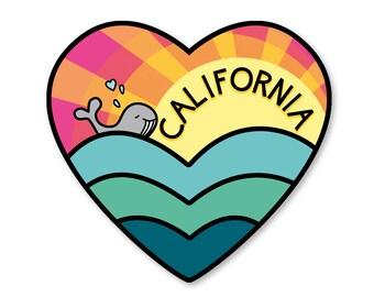 California Love Sticker- Beach Whale Decal- Beach Sticker-  California Art - california sticker - california love
