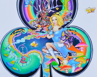 Alice in Wonderland Art print,  Ace of Clubs, Alice in Wonderland Pinup Punk Painting Art Print, Alice Tattoos, Bright Colors